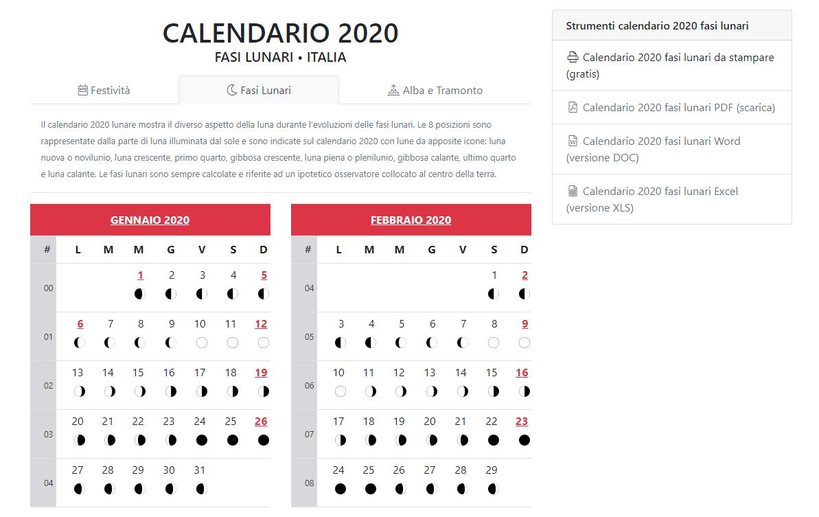 Calendario Mese Di Maggio 2020.Calendario 2020 Il Calendario Lunare Digitale Sapere Web