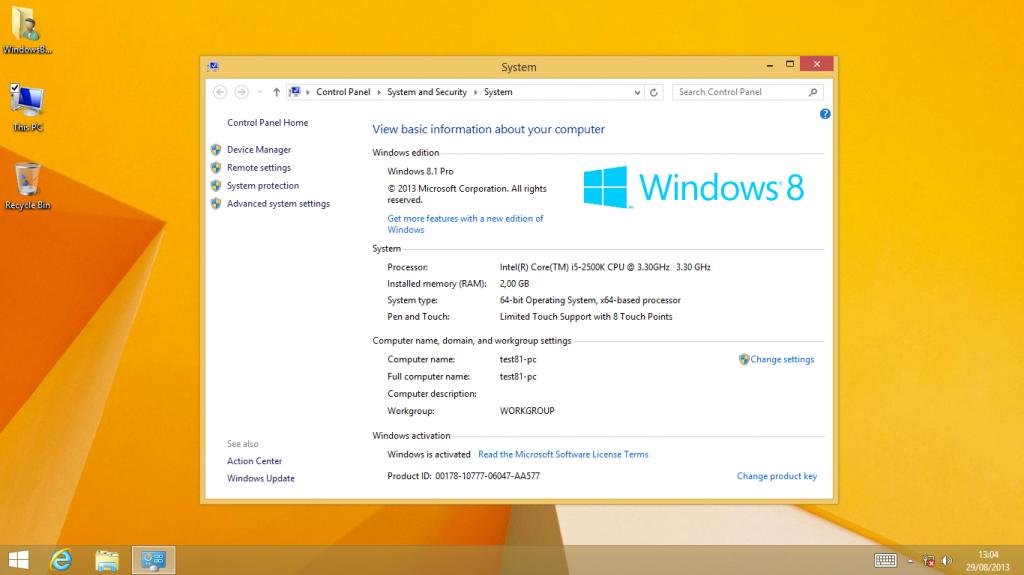 windows 8.1 pro 64 bit activation key 2013